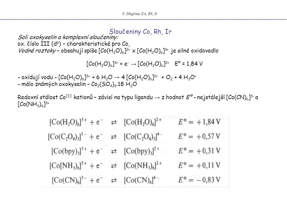 [Co(H2O)6]3+ + e- → [Co(H2O)6]2+ E° = 1,84 V